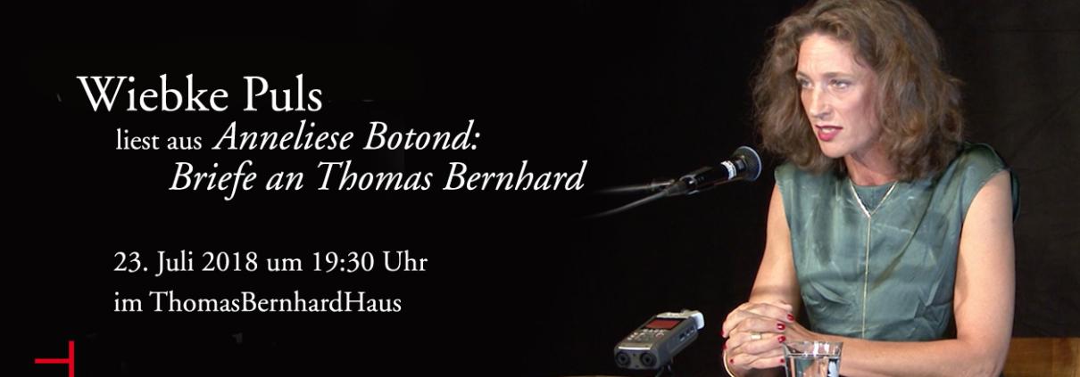 Wiebke Puls liest aus Anneliese Botond: Briefe an Thomas Bernhard