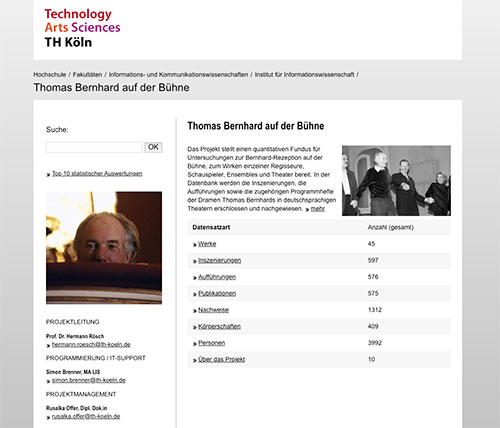 Screenshot der Rechercheplattform